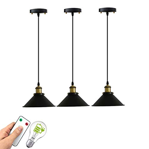 civaza Pendant Lights 3 Pack,Battery Operated Pendant Lights with Remote,Kitchen Lights Ceiling Hanging Over Island,400 Lumens Self-Chargable Light Bulbs Included (Color : Black)