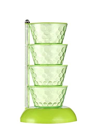 Draaiende kruidendoos,kruidenkristallen kappers toren,verticale meerlagige transparante organizer-transparant|4 tier…