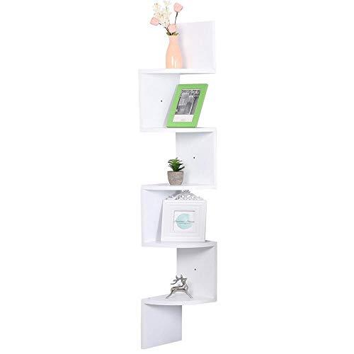 Estantería esquinera de pared para libros y objetos, hecha