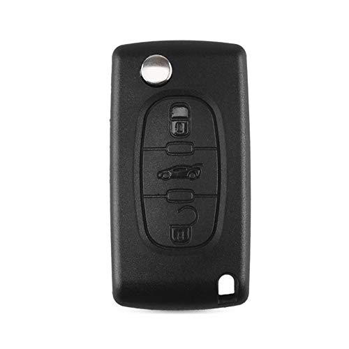 Heart Horse 3 botones del control remoto de coches Fob reemplazo llave del tirón Compatible con Peugeot 107 207 307 407 607 208 308 408 CE0523 (sin ranura sin soporte de la batería)