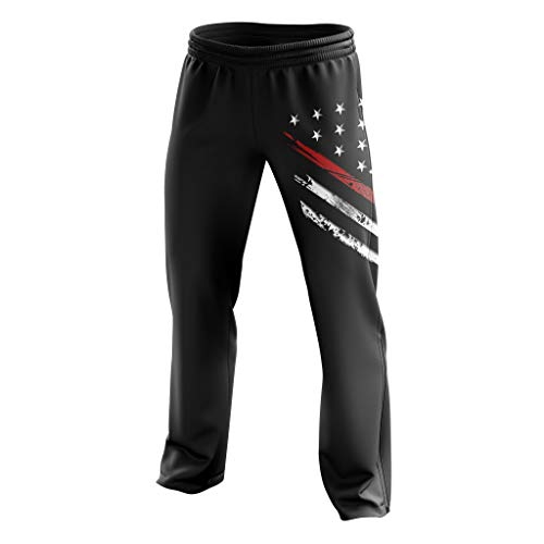 Tactical Pro Supply American Flag Sweatpants - Joggers for Men Women Fitness Workout - Red Line Crest Black (X-Large)