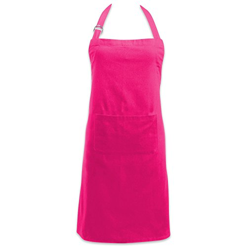 DII Adjustable Neck & Waist Ties with Front Pocket, 32x28 Apron Chino Chef Collection, Neon Pink