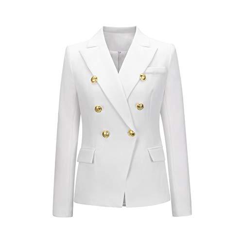 Trabajo de Oficina para Mujer Moda de Negocios Casual Cárdigan Cruzado Outwear Clásico Color sólido Solapa...