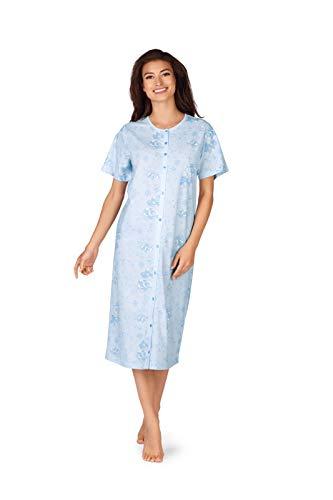 Comtessa Damen Nachthemd 191237 Bleu Durchknöpfbar 100% Baumwolle Gr 36-38 S