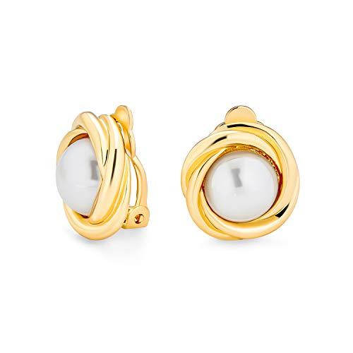 Cable bisel conjunto domo blanco simulado perla clip en pendientes para las mujeres no perforado orejas 14K oro chapado latón