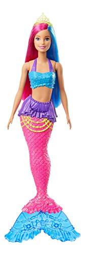 Barbie Dreamtopia Muñeca Sirena, pelo rosa y azul (Mattel GJK08)