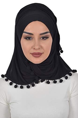 Jersey Shawl for Women Cotton Wrap Instant Turban Cap Bonnet Black-Black Pompom