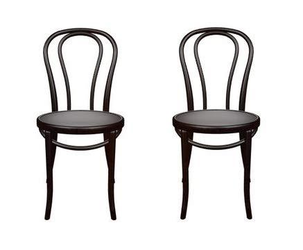Juego de 2 sillas de comedor de madera maciza, silla de cocina, silla de madera de calidad Gastro (negro), Fameg fabricada en Europa.