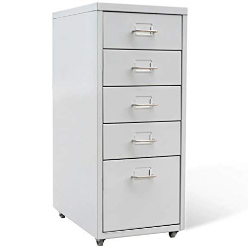 Drawer Mobile File Cabinet Metal Filing Cabinet LegalLetter SizeFile Cabinet with 5 Drawers Gray 27 Steel