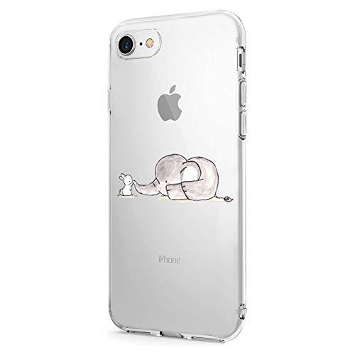 Oihxse Compatibile per [iPhone 7/8 Cover ] [iPhone SE 2020] Sottile e Leggera Silicone Trasparente Anti Scivolo Graffi Morbido TPU Design Creativo Cover iPhone 7 iPhone 8 iPhone SE-4.7-Elefante
