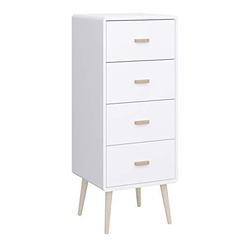 Steens MINO Dresser Blanco 42 x 105 x 40 cm (W x H x D) Alto y estrecho, que ahorra espacio, estilo escandinavo
