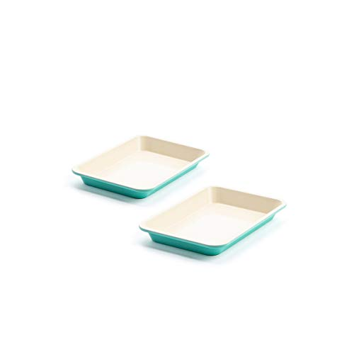 GreenLife Healthy Ceramic Nonstick Turquoise Toaster Oven Sheet Pans, Set of 2, 9' x 7', CC003908-001
