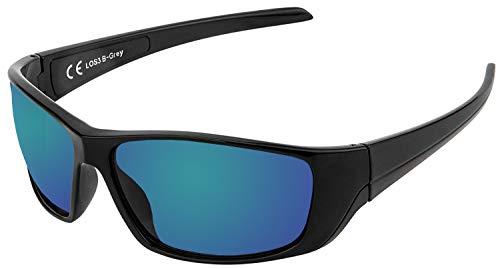 La Optica B.L.M. UV400 CAT 3 Unisex Damen Herren Sonnenbrille Sportbrille Fahrradbrille Laufen - Schwarz (Gläser: Grün Verspiegelt)