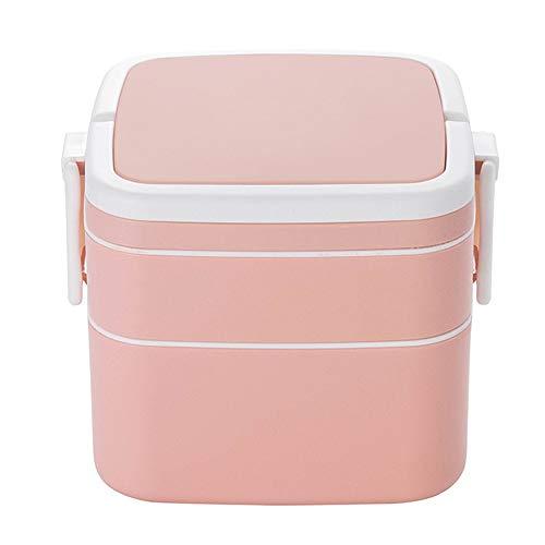 Caja De Plástico De 1000ml, Caja con Doble Capa Y Cubertería, Caja para Comida, Muy Adecuada para Almuerzos Y Snacks para Niños Y Adultos (Color : Pink)