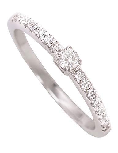 MyGold Diamant Verlobungsring Weißgold Weissgold 750 Gold (18 Karat) Mit Brillant 0,20ct. Gr.54 Heiratsantrag Antrag Damenring Diamantring Weißgoldring Gaura V0011015