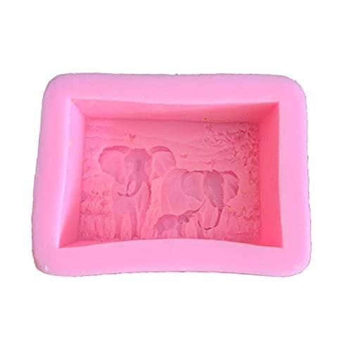 RJJX 3D quadratische Form Seifenform Elefant Muster Seife Silikonform Handmade DIY. Fondant Kuchen Dekorieren von Werkzeugen (Color : Standard)