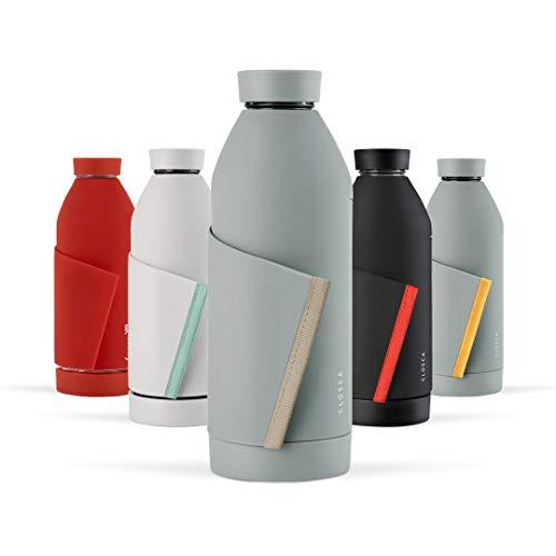 Closca Botella de Agua de Cristal 420ml Bottle. Cantimplora de Vidrio Libre de BPA. Doble Apertura y Solapa Elástica para fácil Transporte. (Gray/Beach)