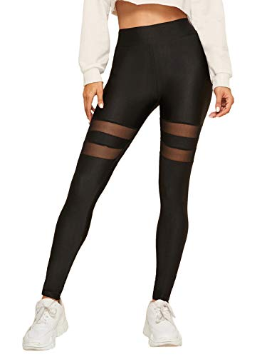 DIDK Damen Leggings Mesh-Panel Seite Hohe Taille Workout Yoga Hosen Sportleggings Netz Sporthose Schwarz#12 M