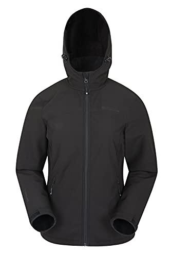 Mountain Warehouse Exodus Wasserabweisende Softshell-Damenjacke - atmungsaktive Regenjacke, länger im Rücken - großartig zum Spazierengehen, Reisen, Wandern, Frühling Schwarz 42
