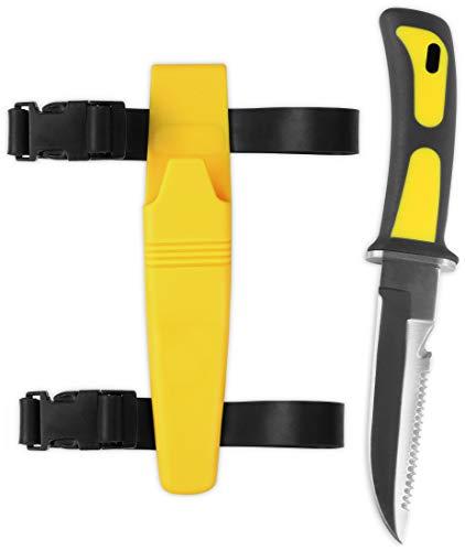 Storfisk fishing & more Tauchermesser mit Beinholster, mit Sicherung und Sägezahnrücken, Länge: 23 cm, Farbe :Gelb