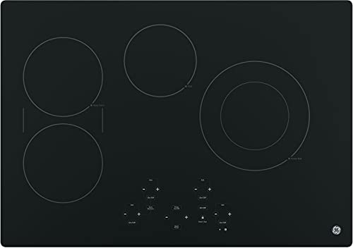 GE JP5030DJBB 30 Inch Smoothtop Electric Cooktop with SyncBurner, Keep Warm, Digital Touch Controls, 4 Radiant Elements, Built-in Timer, Melt Setting, ADA Compliant Fits Guarantee