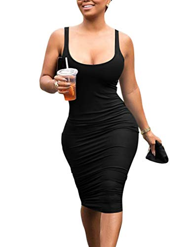 Mokoru Women's Casual Basic Pencil Tank Dress Sexy Sleeveless Bodycon Midi Club Dress, Medium, Black