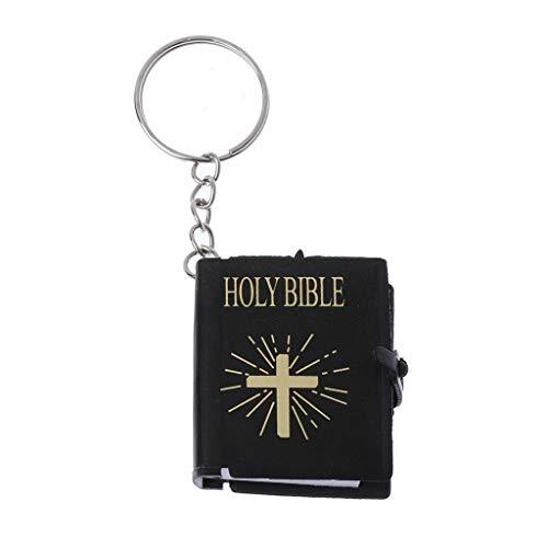 JENOR Schlüsselanhänger mit englischer Bibel, religiöses christliches Jesus-Kreuz, Geschenk (schwarz)