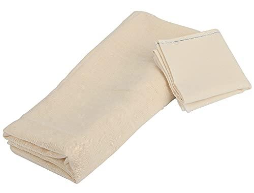 ZoneYan Telas Filtrantes, Tela Colador, Cheese Cloth, Telas Filtrantes Reutilizable, Tela para Queso, para Filtrar Mantequilla, Café, Leche (1 pc 40x40cm,1 pc 1.2x1.2m)