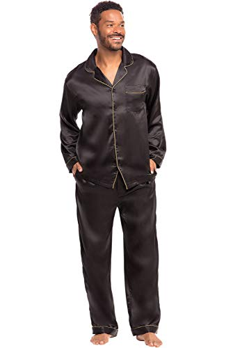 Alexander Del Rossa Men's Button Down Satin Pajama Set with Sleep Mask, Long Silky Pjs, Medium Black with Gold Piping (A0752BLKMD)