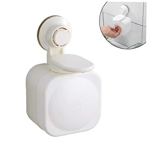 lujiaoshout Jabón 1pc dispensador montado en la Pared del jabón líquido Diapenser Ventosa dispensador de jabón Champú Diapenser jabón líquido de la Caja para la Cocina Cuarto de baño, Blanca