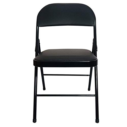 KNJF Leichter Klappstuhl Einfacher Klappstuhl Stahl Klappstuhl Konferenz Rückenlehne Klappstuhl (Color : Black, Size : 78x47x40cm)