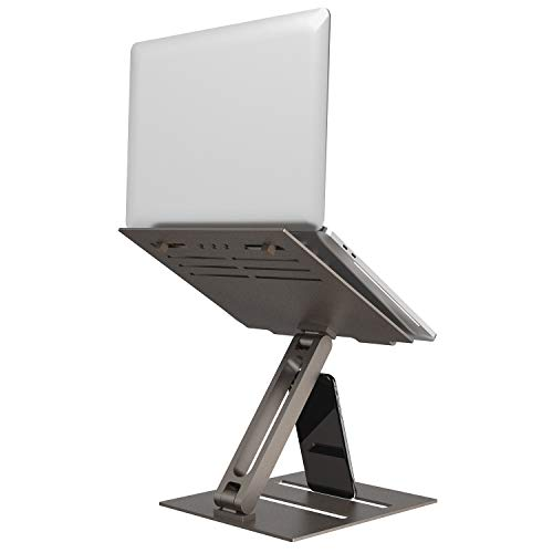 Laptop Stand Holder,Klearlook Foldable Multi-angle Height Adjustable Single Arm Laptop Riser,Aluminum Ventilated Desktop Ergonomic Space-save Notebook Tray Mount for Laptop & Tablet 10-17'-Bronze