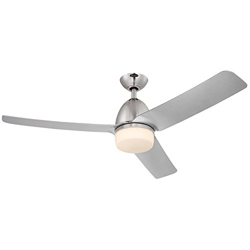 Lighting  Delancey Two 52-Inch Brushed Chrome Indoor DC Motor Ceiling Fan, Light Kit with Opal Frosted Glass, Remote Control Included, Finish - Westinghouse 7800100