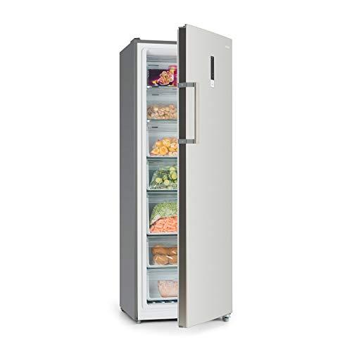 Klarstein Iceblokk - 4-Sterne A+ Hybrid Gefrierschrank, auch als Kühlschrank nutzbar, 227 Liter, Total NoFrost Technik, 7 Fächer, Touchdisplay, Edelstahl-Optik, freistehend, Silber