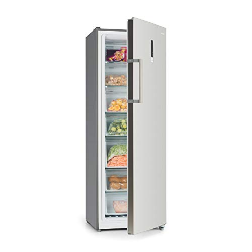 Klarstein Iceblokk Hybrid - Congelatore, Freezer, 4 Stelle, Utilizzabile come Frigorifero, 227 Litri, Tecnologia NoFrost, 7 Vani, Display Touch, Acciaio Inox, Classe A+, Colore Argento