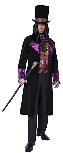 Smiffys Disfraz de Conde gótico, con Falso Chaleco, corbanda incorporada, FRAC y sombrer