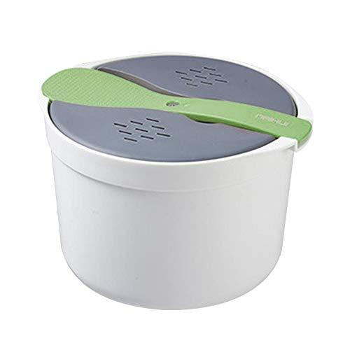 waterfaill Mikrowellen-Reiskocher, Kleiner Mikrowellen-Reiskocher-Dampfgarer, inklusive Reislöffel, Deckel, Sieb und Dampfgarer, für die Küche zu Hause, grün/orange