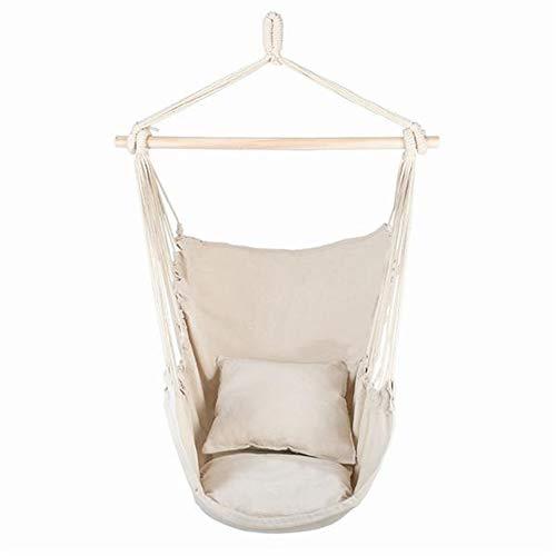 Hamaca silla colgante columpio silla para interior/exterior, hogar, patio, jardín, lectura, ocio, tela de algodón de calidad, capacidad de 250 libras (color: beige)
