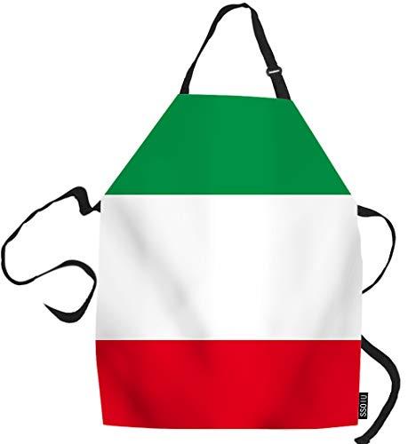 SSOIU Italian Cooking Apron, Italian Flag Kitchen Apron For Baking/BBQ Men Women Unisex Waterproof 31X27 Inches