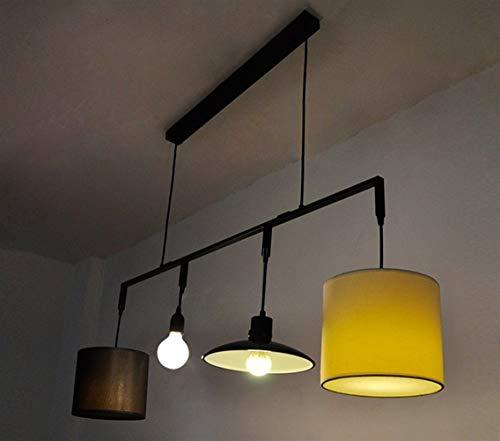 CENPEN Lámpara colgante con 4 cabezas, luces colgante personalizado, estilo industrial, restaurante, bar, color blanco y negro, con E27 para 10-20 metros cuadrados