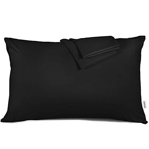 ADORIC Taie d'oreiller 50x70cm [Lot de 2] Taies d'Oreillers 100% Microfibre Doux Confortable Peu Salissant 50cmx70cm-Noir