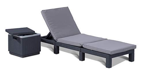 Tumbona Allibert Daytona con soporte, grafito + mesa auxiliar / caja fría Ice Cube 40 litros, grafito