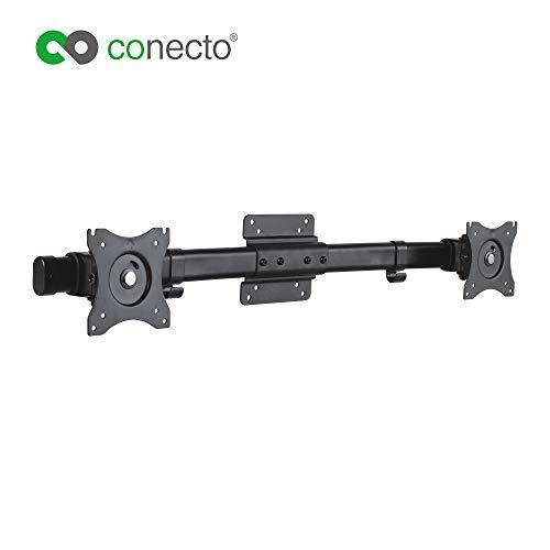 conecto CC50514 Dual Screen Adapter für 2 Monitore 33-69 cm (13-27 Zoll), neigbar 45°, schwenkbar -15°, drehbar 180°, Kabelmanagement, Traglast: max. 10kg, VESA 100x100, schwarz