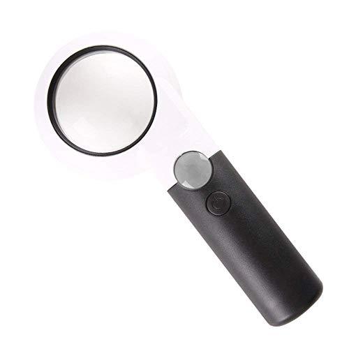 Handheld Illumination vergrootglas met 30 x led-licht HD-lens voor het lezen van boeken, identificatie van sieraden, klok, doe-het-zelf knutselen, graveren en repareren, wit vergrootglas