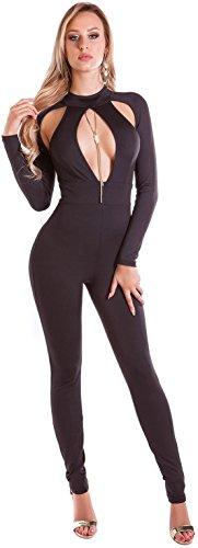 Firstclass Trendstore sexy Langarm Overall mit Cut Outs Gr. S-L, Jumpsuit Hosenanzug Bodysuit Damen Clubwear Party (OV19416 schwarz M 900195)