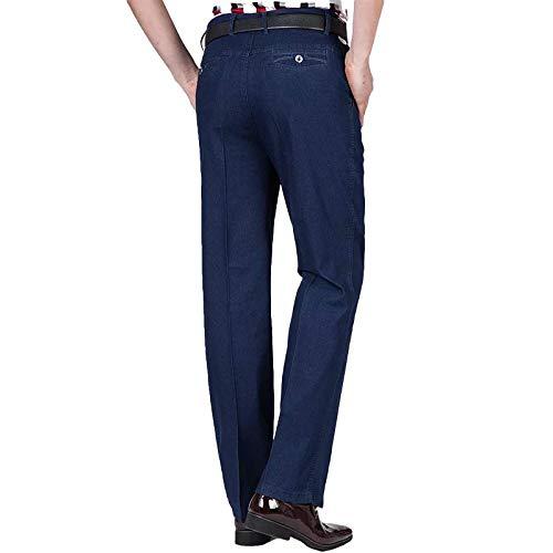 Pantalones Vaqueros para Hombre de Color sólido para jóvenes Primavera y Verano Pantalones de Mezclilla Informales de Negocios elásticos Sueltos de Cintura Alta de sección Delgada 35