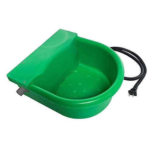 APlayfulBee Automatic Heated Water Bowl Feeder Trough Constant Temperature Dispenser Waterer for Pet Dog Horse Cattle Goat Sheep, with Float Ball Valves