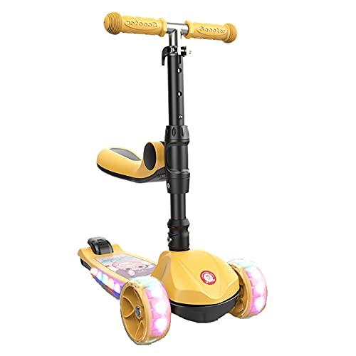 2 en 1 Scooter infantil, scooter con ruedas de parpadeo de PU y asiento plegable, altura ajustable y dirección de gravedad, adecuado para niños y niñas de 2 a 12 años, regalos infantiles,Amarillo