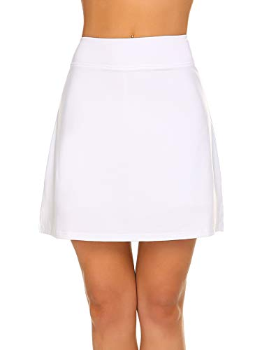Ekouaer Women's Everyday Skort with Built-in Shorts Any Activities Light Summer Skirts Workout Gym White