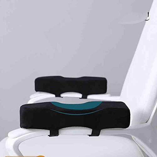 HANHAN - 2 almohadillas para reposabrazos de silla de oficina (espuma suave, para alivio de presión del antebrazo, cómoda almohada para codo con gancho ajustable y bucle, antideslizante